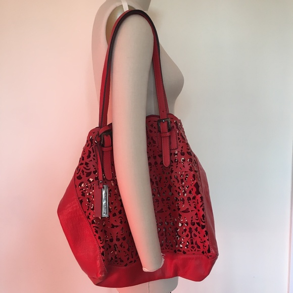 Christian Lacroix Handbags - Christian Lacroix red laser-cut leather tote